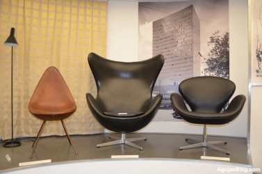 From left, the Drop Chair, Egg Chair and Swan Chair. Designed by Arne Jacobsen, 1957.