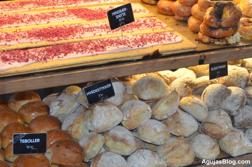 Hindbaer Snitter (Danish Raspberry Bars) and other freshly-baked breads at Torvehallerne.