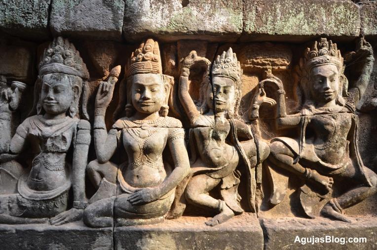 Relief of Hindu deities.