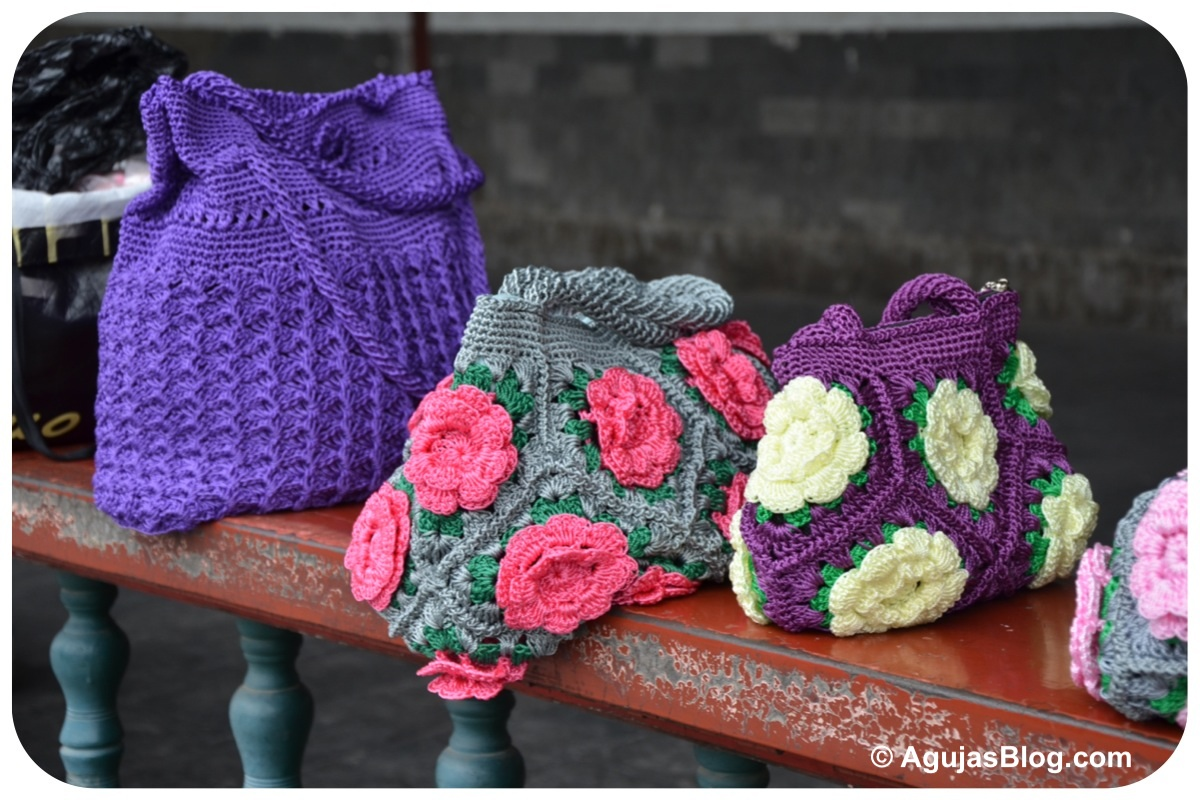 Crocheting With Hands : Hands Crocheting Crocheted handbags - long