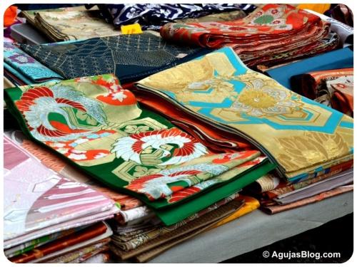 Hanazono Shrine Market - old kimono sashes