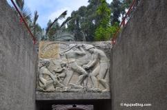 Carved mural at mine entrance