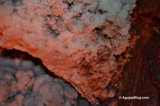 Salt crystals along the tunnel walls