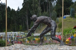 A tall sculpture in honor of the miners who picked at the halite.