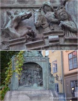 Statues along Köpmanbrinken.