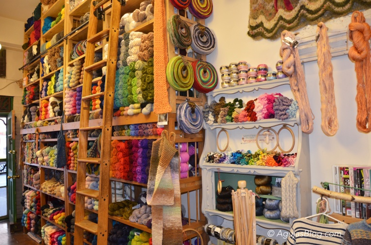 Downtown Yarns - Wall of Yarn